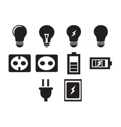 Flat black electric icon set vector