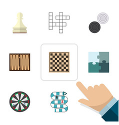 Flat icon games set of chequer jigsaw dice and vector