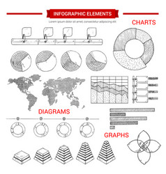 Infographic sketch graph chart elements vector
