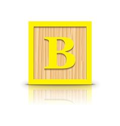 Letter b wooden alphabet block vector