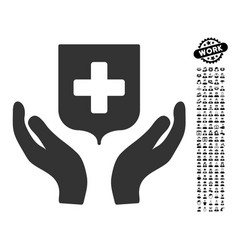 Medical shield care hands icon with professional vector