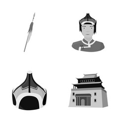 Military spear mongolian warrior helmet vector