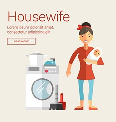 Profession people housewife flat design concept vector