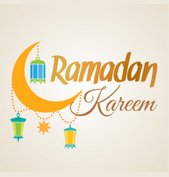 Ramadan kareem crescent moon and lantern lamps vector