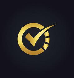 round check technology gold logo vector image vector image