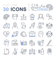 Set flat line icons stroke vector