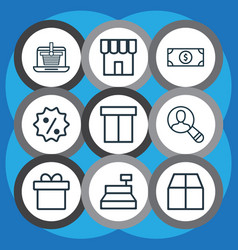Set of 9 e-commerce icons includes shop vector