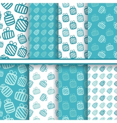 Set of seamless blue patterns with gifts vector image
