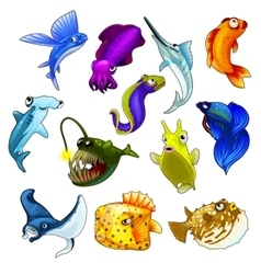 Set of tropical fish on white background vector