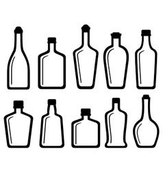 Set white glass alcohol bottles vector