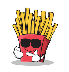 super cool french fries cartoon character vector image