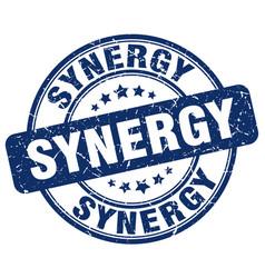 Synergy blue grunge stamp vector