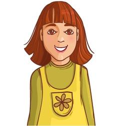 Teenager cartoon girl with dark long hair vector image