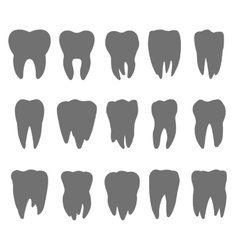 teeth silhouette icons vector image