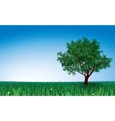 Tree on green field vector