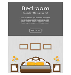 Website banner of graceful bedroom interior with vector