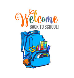 Welcome back to school poster banner postcard vector