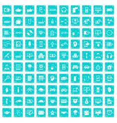 100 programmer icons set grunge blue vector image vector image