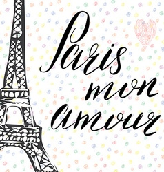 Paris my love lettering sign french words with vector