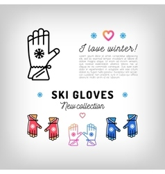 Ski gloves thin line icons winter sports mittens vector