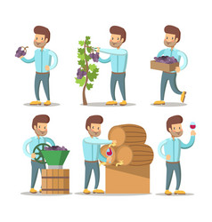Winemaker cartoon with grapes and wine vector
