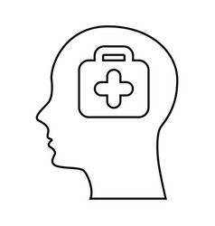 Human profile with medical kit vector