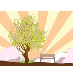 Beautiful sakura and bench3 vector image