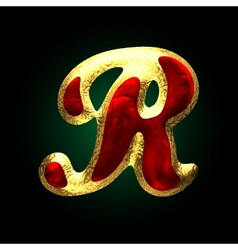 Golden and red letter r vector