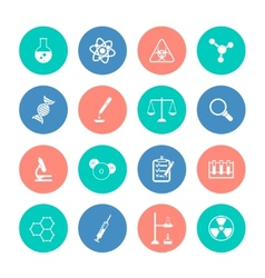 Chemistry icons on color circles vector