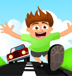 Child running away from car vector