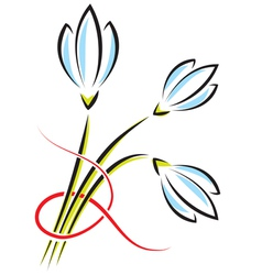 Bouquet of spring flowers crocuses or snowdrops vector