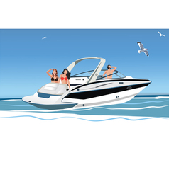Young women and men resting on yacht vector image