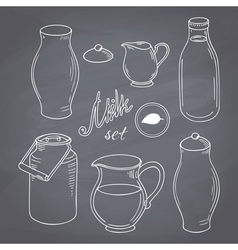 Set of hand drawn dairy farm objects milk goods vector