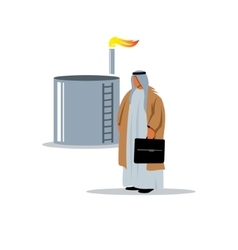 Arab sheikh near the oil and gas storage vector