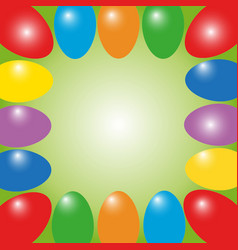 Easter frame from color eggs vector