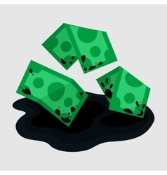 Dirty rumpled money in puddle vector