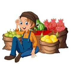 A young farmer near his harvested fruits vector image vector image