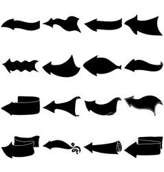 Arrows big set silhouette vector image vector image