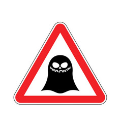 attention ghost dangers of red road sign spook vector image vector image