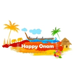 Boat race of kerla on onam vector