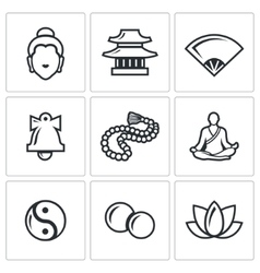 Buddhism icons set vector image