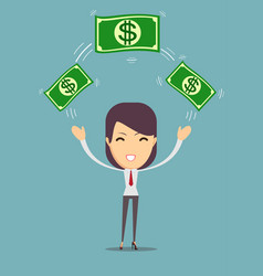 business woman displaying a cash vector image vector image