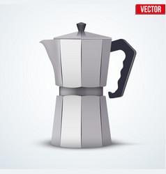 Classic metal coffee maker vector