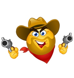 cowboy emoticon vector image