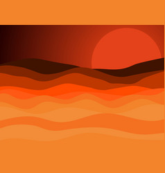 Desert landscape sunset with a red sun vector