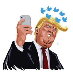 Donald trump social media updates cartoon vector