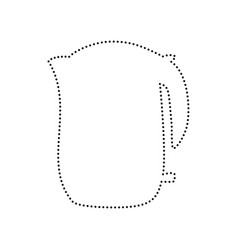 electric kettle sign black dotted icon on vector image
