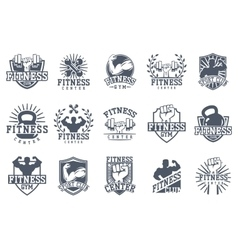 Fitness gym symbol set vector image