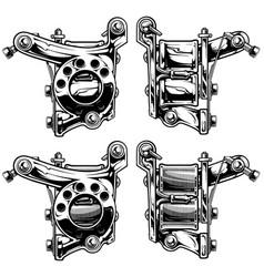 Graphic black and white tattoo machine set vol 5 vector