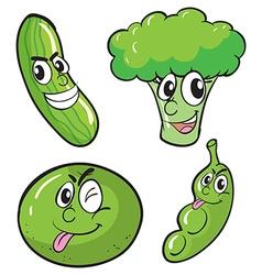 Green fresh vegetables set vector image vector image
